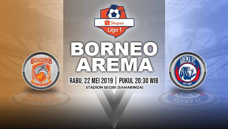 Pertandingan Borneo FC vs Arema FC. Grafis: Yanto/Indosport.com Copyright: © Grafis: Yanto/Indosport.com