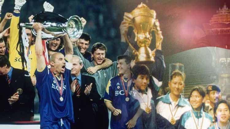 Juventus juara Liga Champions 1995/96 dan Tim Indonesia menjadi juara dalam ajang perdana Piala Sudirman setelah mengalahkan Korea Selatan pada babak final, yang diselenggarakan di Istora Senayan, Jakarta, 29 Mei 1989. Copyright: © Repro/Wisnu /Sejarah Bulutangkis Indonesia (PBSI, 2004)/Juventus.com/Eli Suhaeli