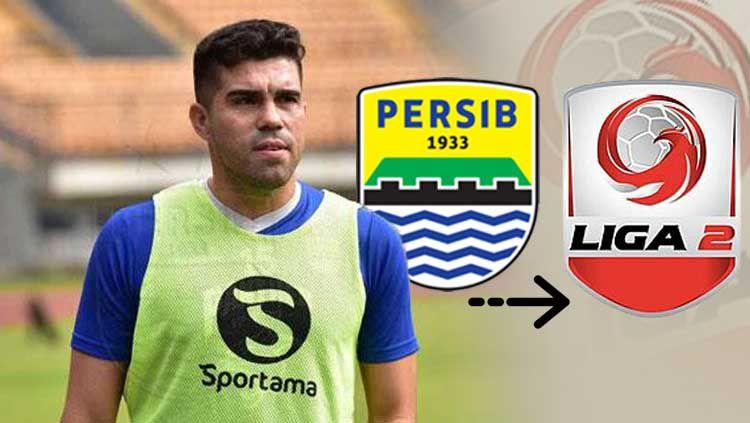 Fabiano Beltrame, logo Persib Bandung, dan Liga 2 Copyright: © Persib/INDOSPORT