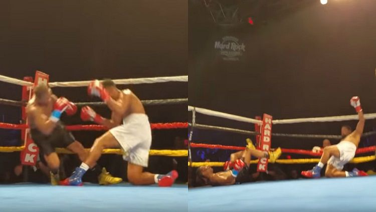 Irosvani Duvergel vs Jerhed Fenderson KO secara bersamaan di turnamen tinju di Florida, Amerika Serikat. Copyright: © YouTube / SerEbro EnlosDeportes