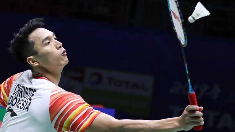 Jonatan Christie dikalahkan  Chou Tien Chen di perempatfinal Piala Sudirman. Foto: Humas PBSI Copyright: © Humas PBSI