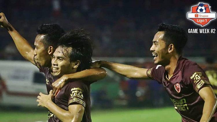 Penggawa PSM merayakan gol yang dicetak ke gawang Badak Lampung FC. Copyright: © Twitter