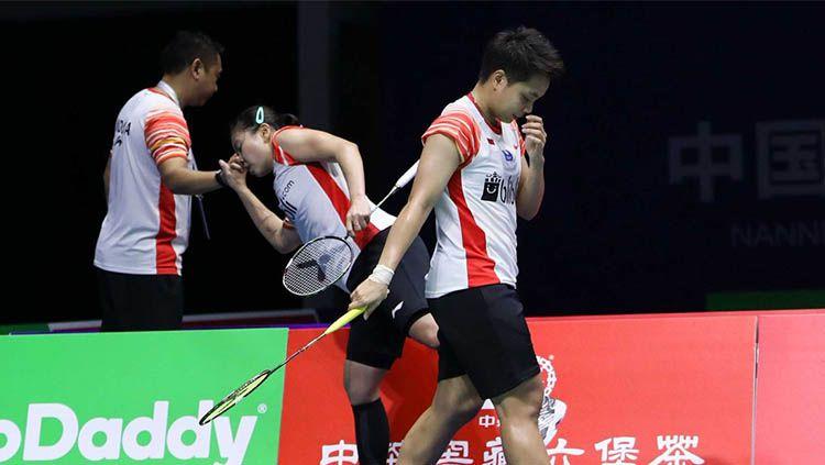 Gresyia Polii & Apriyani Rahayu kecewa tidak mampu membawa Indonesia menang atas Jepang di semifinal Piala Sudirman 2019. Copyright: © badmintonindonesia.org