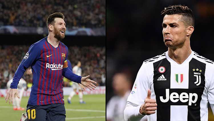 Lionel Messi, pemain megabintang Barcelona (kiri) dan pemain megabintang Juventus, Cristiano Ronaldo Copyright: © Vi-Images/MARCO BERTORELLO/GettyImages
