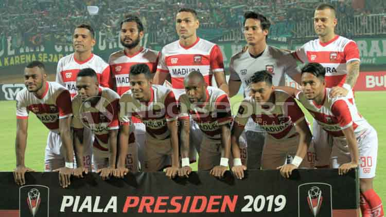 Skuat Madura United di awal musim Liga 1 2019. Copyright: © Ian Setiawan/INDOSPORT