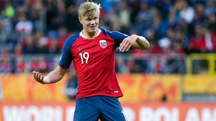 Erling Haland cetak gol dalam laga Norwegia vs Honduras di FIFA World Cup U-20. Copyright: © PressFocus/MB Media/Getty Images