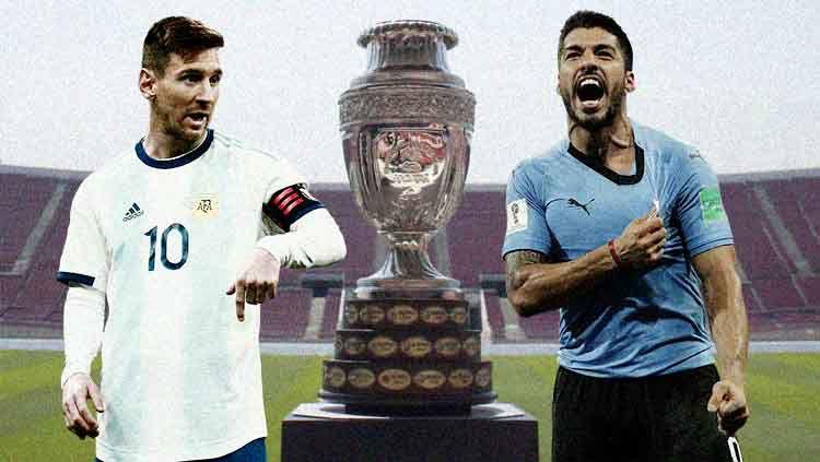 Lionel Messi dan Luis Suarez ketika membela Argentina dan Uruguay. Copyright: © .footyrenders/Worldcupupdates/Eli Suhaeli/INDOSPORT