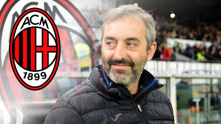 Marco Giampaolo dan logo AC Milan Copyright: © Paolo Rattini/Getty Images