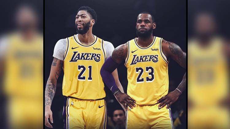 Penampilan Anthony Davis dan LeBron James mendapat pujian dari pelatih Los Angeles Lakers, Frank Vogel. Copyright: © Instagram Sports Illustrated
