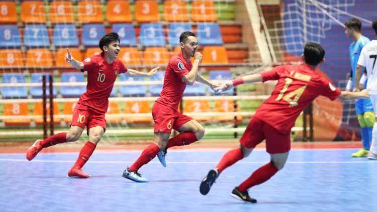 Timnas Futsal Indonesia U-20 saat berhadapan dengan Irak di Piala AFC Futsal U-20 2019, Minggu (16/06/19). Copyright: © AFC.com