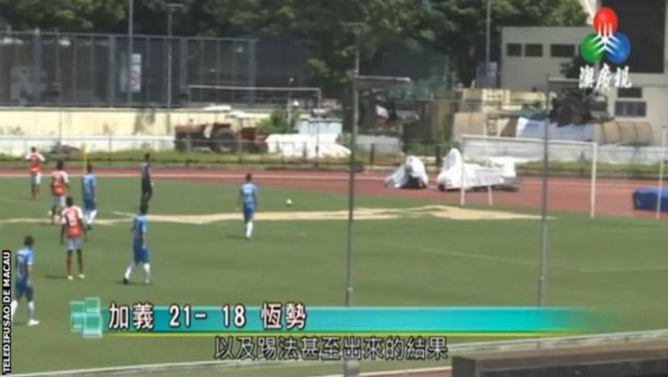 Skor tak lazim terjadi dalam pertandingan sepak bola di Macau Copyright: © bbc.co.uk