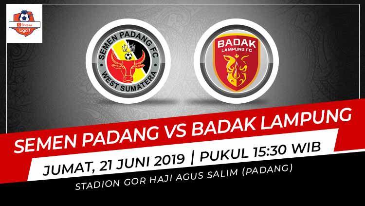 Pertandingan Semen Padang vs Badak Lampung. Grafis: Indosport.com Copyright: © Grafis: Indosport.com