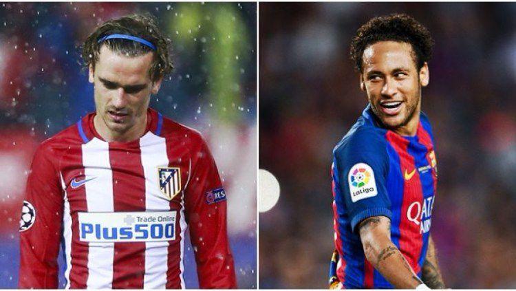 Antoine Griezmann dan Neymar dilaporkan mangkir dari latihan klubnya demi bisa gabung Barcelona. (Foto: Joe.co.uk) Copyright: © Joe.co.uk