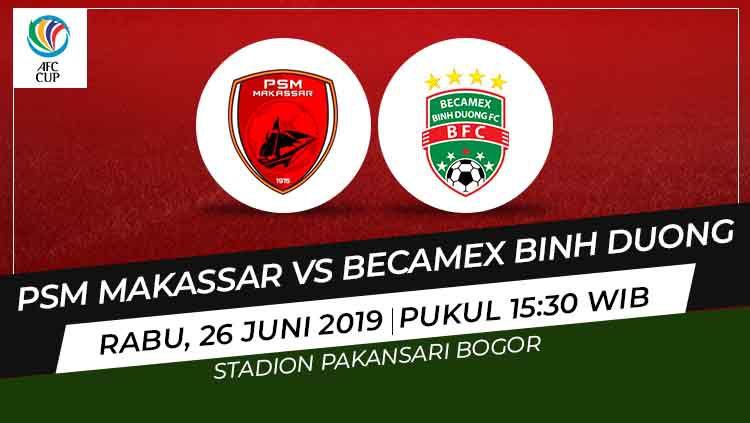 Prediksi pertandingan PSM Makassar vs Becamex Binh Duong pada leg 2 semifinal Zonal ASEAN Piala AFC 2019, Rabu (26/06/19), di Stadion Pakansari. Copyright: © INDOSPORT