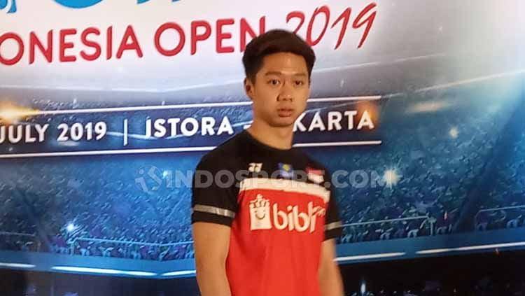Kevin Sanjaya Sukamuljo dalam jumpa pers persiapan digelarnya Indonesia open 2019 di Istora Senayan lalu. Copyright: © Herry Ibarahim/INDOSPORT