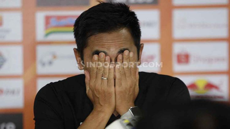 Pelatih PSS Seto Nurdiyantoro dalam jumpa pers menjelang laga Liga 1 2019 melawan Persija Jakarta. Copyright: © Herry Ibrahim/INDOSPORT