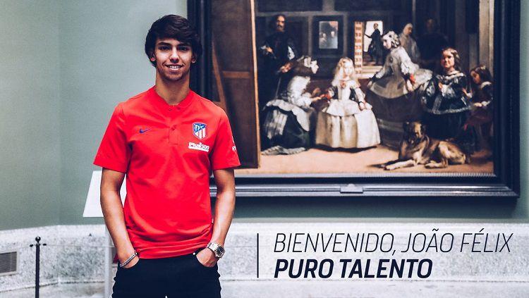 Bintang baru Atletico Madrid, Joao Felix, enggan disamakan dengan seniornya di Timnas Portugal, Cristiano Ronaldo. Copyright: © twitter @