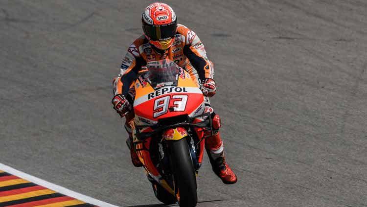 Marc Marquez saat turun balapan di GP Jerman 2019. Seri ini sendiri dimenangkan pembalap Repsol Honda tersebut. Copyright: © Twitter.com/supersporttv