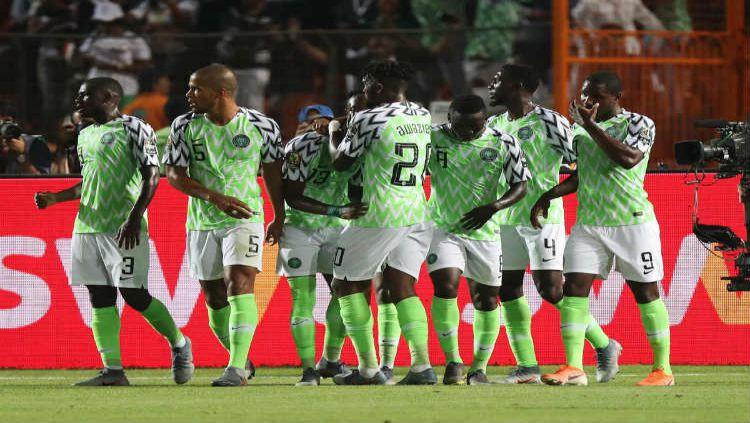 Selebrasi gol kemenangan Nigeria atas Afrika Selatan Copyright: © Twitter @CAF_Online