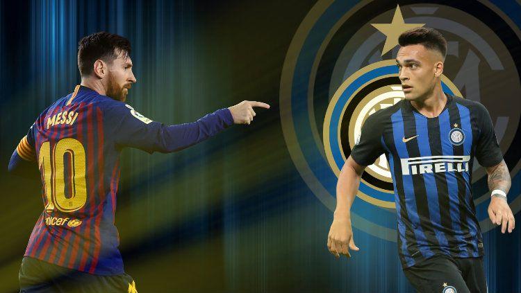Lionel Messi diyakini bakal segera resmi meninggalkan Barcelona untuk bergabung dengan raksasa sepak bola Serie A Liga Italia, Inter Milan, di bursa transfer. Copyright: © INDOSPORT/Petrus Tomy
