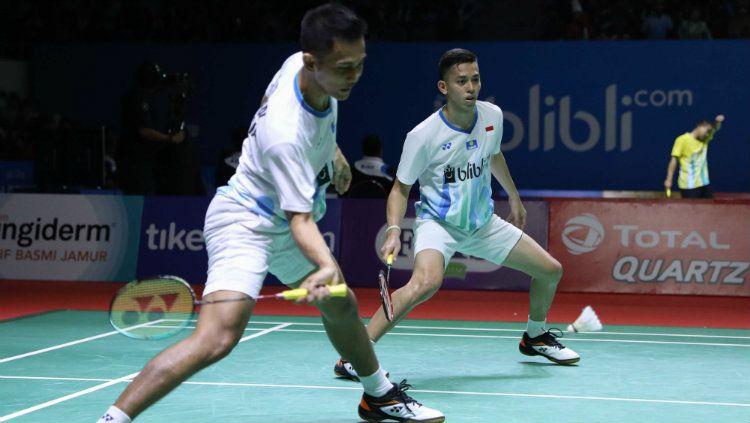 Fajar Alfian/Muhammad Rian Ardianto di babak pertama Indonesia Open 2019. Copyright: © Humas PP PBSI