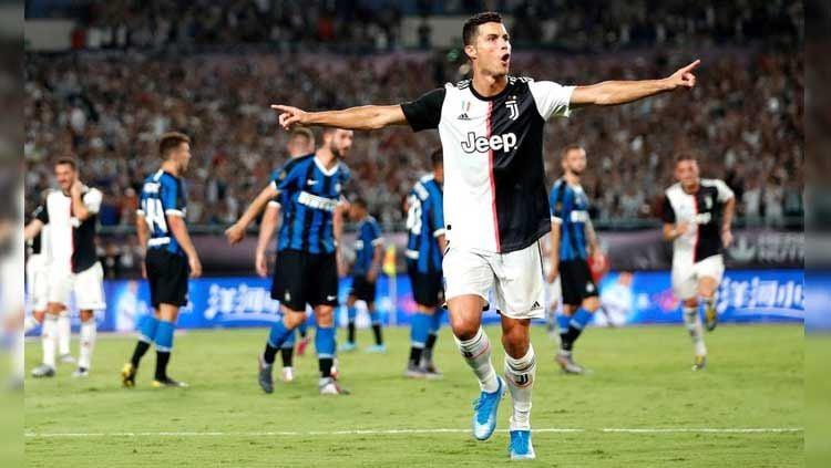 Selebrasi Cristiano Ronaldo pada laga Juventus vs Inter Milan di International Champions Cup (ICC) 2019, Rabu (24/07/19). Copyright: © Twitter/@JuveFanInfoFR
