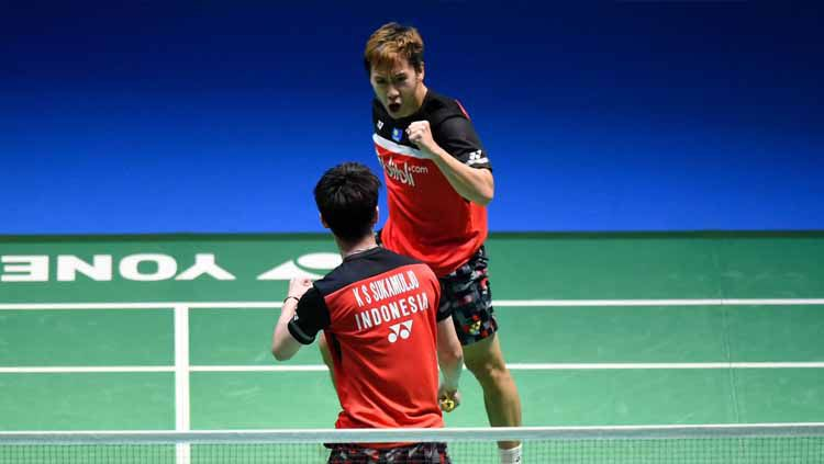 Marcus Fernaldi Gideon dan Kevin Sanjaya Sukamuljo lolos ke semifinal kejuaraan bulutangkis Danisa Denmark Open 2019 setelah menyingkirkan wakil China. Copyright: © Matt Roberts/Getty Images