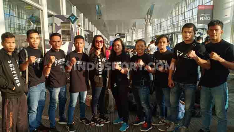 Para atlet KBI Sumut foto bersama sebelum bertolak ke Kejurnas KBI 2019, Rabu (31/7/2019). Copyright: © Aldi Aulia Anwar/INDOSPORT