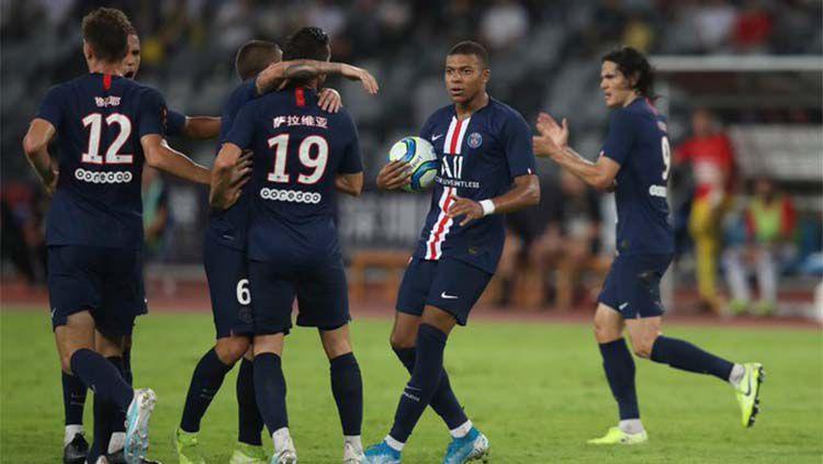 Selebrasi Angel Di Maria kala mencetak gol pada laga Paris Saint-Germain (PSG) vs Rennes di final Piala Super Prancis, Sabtu (03/08/19). Copyright: © Twitter/@futpresso
