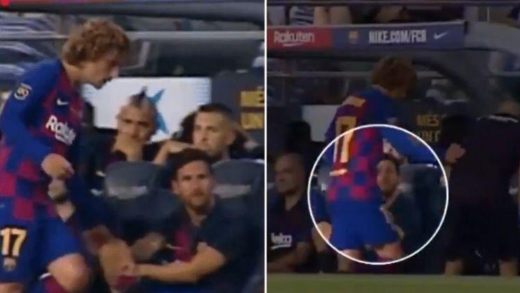 Lionel Messi menolak jabat tangan dari Antoine Griezmann Copyright: © SportBible