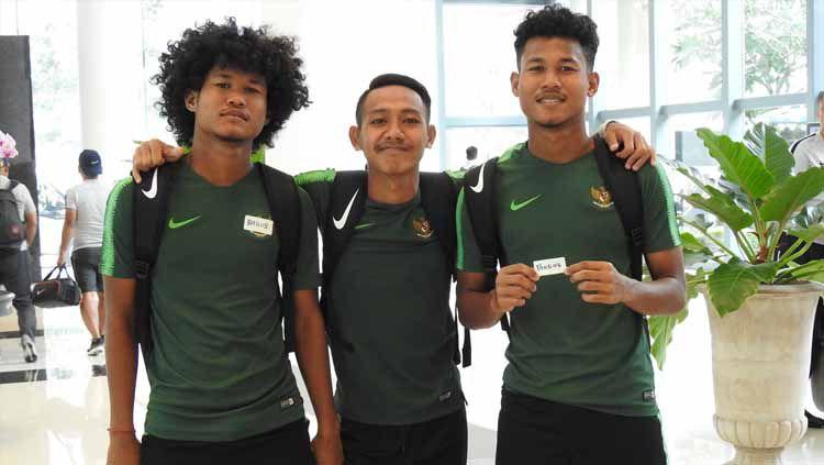 Pemain Timnas Indonesia U-19, Bagus Kahfi, Beckham Putra Nugaraha dan Bagas Kaffa. Foto: pssi.org Copyright: © pssi.org
