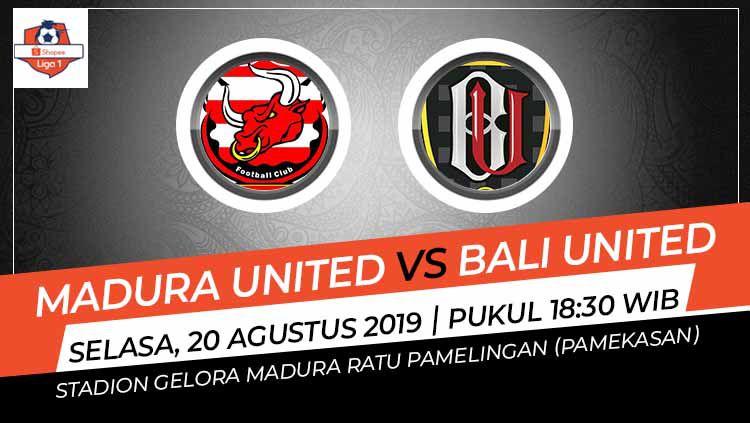 Laga Madura United melawan Bali United di Stadion Gelora Ratu Pamelingan, Madura, pada Selasa (20/8/19) pukul 18.30 WIB bisa disaksikan di Vidio.com. Copyright: © Grafis: Indosport.com