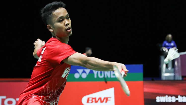 Tunggal putra Indonesia, Anthony Sinisuka Ginting, melaju ke babak dua Kejuaraan Dunia 2019. Copyright: © Humas PBSI