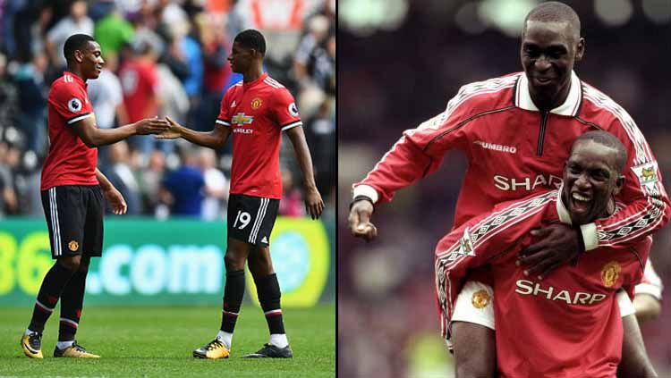 Dua penyerang Man United masa kini (kiri), Anthony Martial dan Marcus Rashford, serta dua striker Man United masa lalu, Andy Cole (atas) dan Dwight Yorke Copyright: © Dan Mullan/Alex Livesey/Getty Images