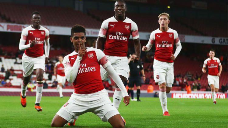 Tyreece John-Jules saat cetak gol bersama Arsenal. Copyright: © Getty Images