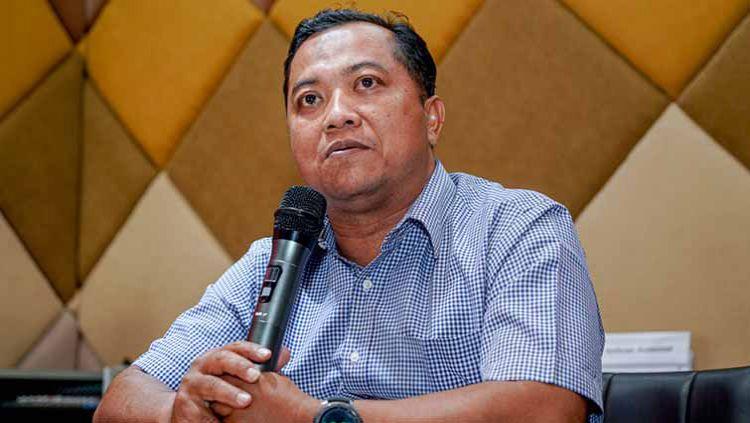Sekretaris Persebaya Surabaya Ram Surahman, saat menghadiri konferensi pers Liga 1 2019, Jumat (23/08/19). Copyright: © Media Persebaya