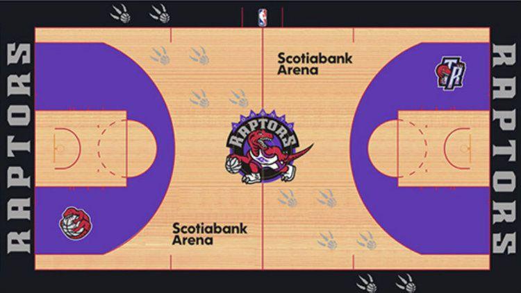 Desain lapangan baru Toronto Raptors yang bocor di internet. Copyright: © Twitter/Taylor Griffin