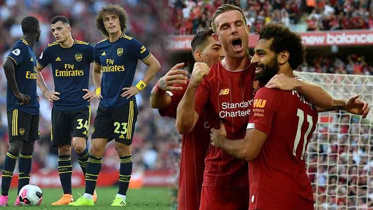 Liverpool berpesta di Anfield dengan menaklukan Arsenal dengan skor 3-1. Copyright: © David Price/Arsenal FC via Getty Images/John Powell/Liverpool FC via Getty Images