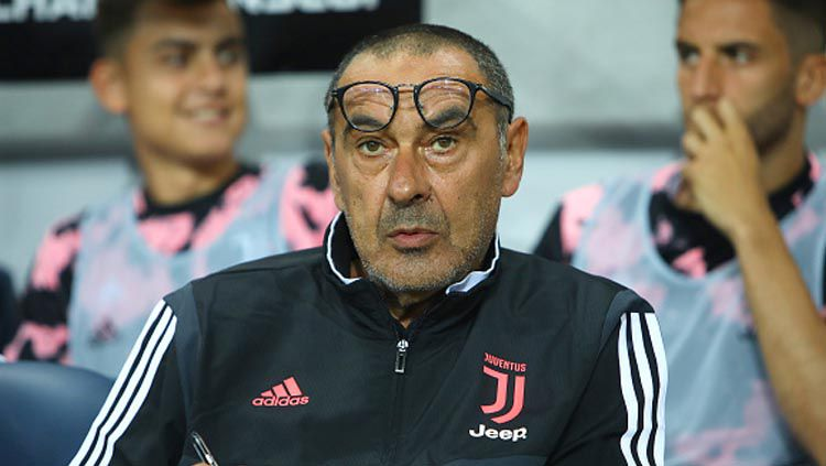 Maurizio Sarri merindukan sosok strikernya setelah Juventus menang atas Genoa di ajang Serie A Italia, Kamis (31/10/19). Charlie Crowhurst/GettyImages. Copyright: © Charlie Crowhurst/GettyImages