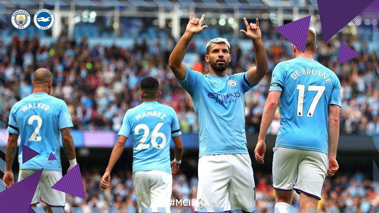 Sergio Aguero merayakan gol ke gawang Brighton dalam laga pekan ke-4 Liga Inggris, Sabtu (31/08/19). Copyright: © Twitter @ManCity
