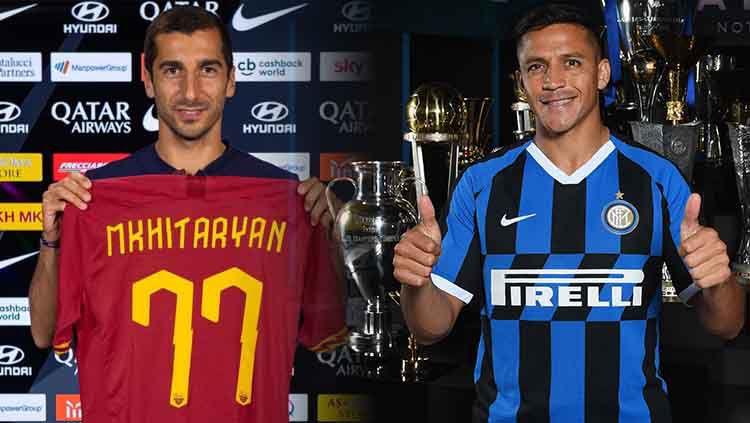 Henrikh Mkhitaryan dan Alexis Sanchez. Copyright: © Claudio Villa - Inter/Inter via Getty Images/officialasroma Verified