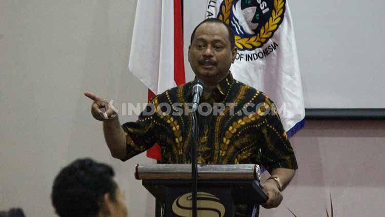 Ketua harian KONI Jatim, M Nabil saat menghadiri kongres futsal Jatim pada Sabtu (07/09/19). Fitra Herdian/Indosport Copyright: © Fitra Herdian/Indosport