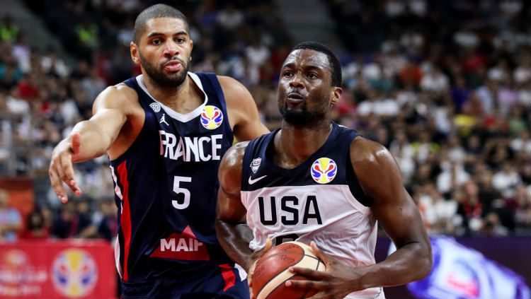 Prancis vs Amerika Serikat di FIBA World Cup 2019. Copyright: © Zhizhao Wu/Getty Images