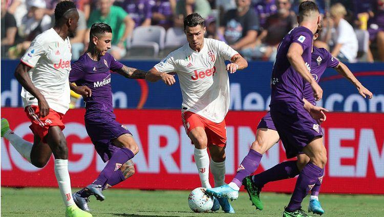 Juventus gagal meraih kemenangan setelah ditahan imbang 0-0 Fiorentina pada laga pekan ketiga Serie A Italia 2019/20, Sabtu (14/09/19). Copyright: © @SuperSportTV