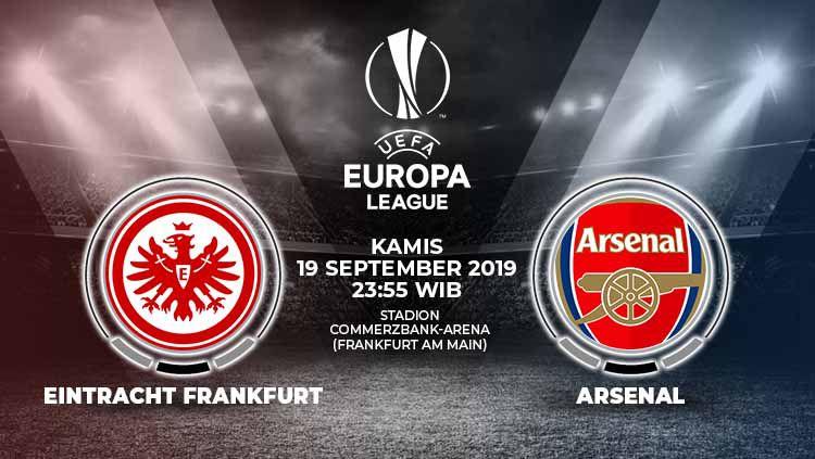 Berikut link live streaming pertandingan Liga Europa 2019/20 antara Eintracht Frankfurt vs Arsenal yang berlangsung pada Kamis (19/9/19) pukul 23.55 WIB. Copyright: © Grafis: Yanto/Indosport.com