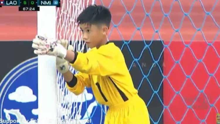 Floyd Canilao Muna kiper Mariana Utara yang kebobolan 10 gol. Copyright: © youtube