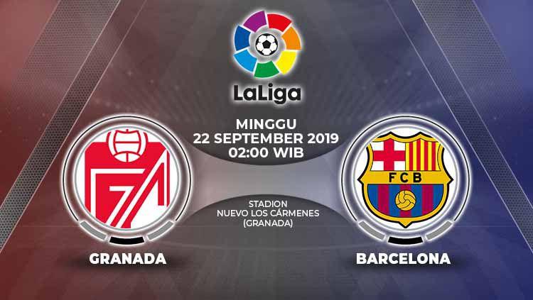 Laga pekan kelima LaLiga Spanyol pada Minggu (22/9/19) antara Granada melawan Barcelona pada 02.00 WIB bisa disaksikan secara langsung lewat live streaming. Copyright: © Grafis: Yanto/Indosport.com