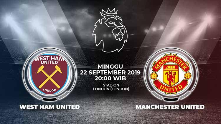 Laga West Ham United melawan Manchester United, Minggu (22/9/19), pukul 20.00 WIB bisa disaksikan langsung lewat live streaming di TVRI dan Mola TV. Copyright: © Grafis: Yanto/Indosport.com