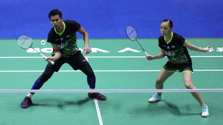 Pasangan ganda campuran Indonesia, Tontowi Ahmad/Winny Oktavina Kandow, gagal melangkah ke babak kedua turnamen Denmark Open 2019. Copyright: © Humas PBSI