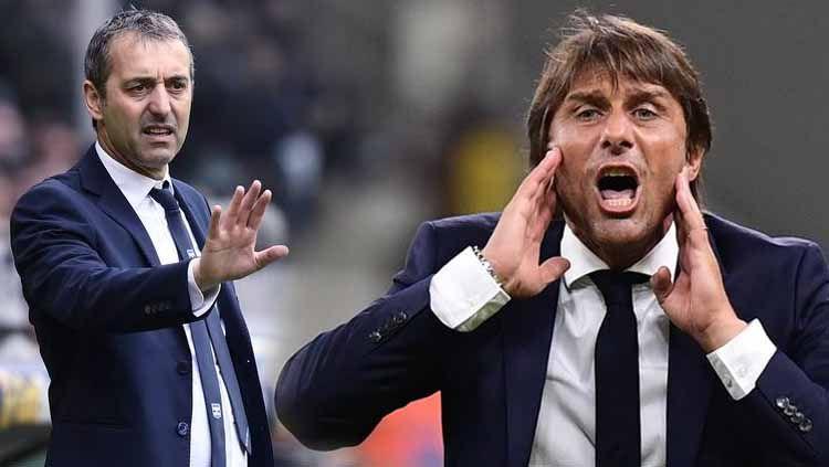 Pelatih Inter Milan, Antonio Conte (kanan), memiliki rekor lebih mematikan ketimbang pelatih AC Milan, Marco Giampaolo (kiri), jelang pertandingan Derby della Madonnina. Copyright: © liputan6/irishmirror